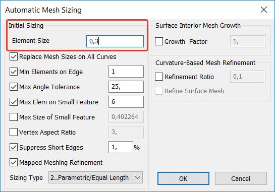 Femap Диалоговое окно настройки размеров конечных элементов