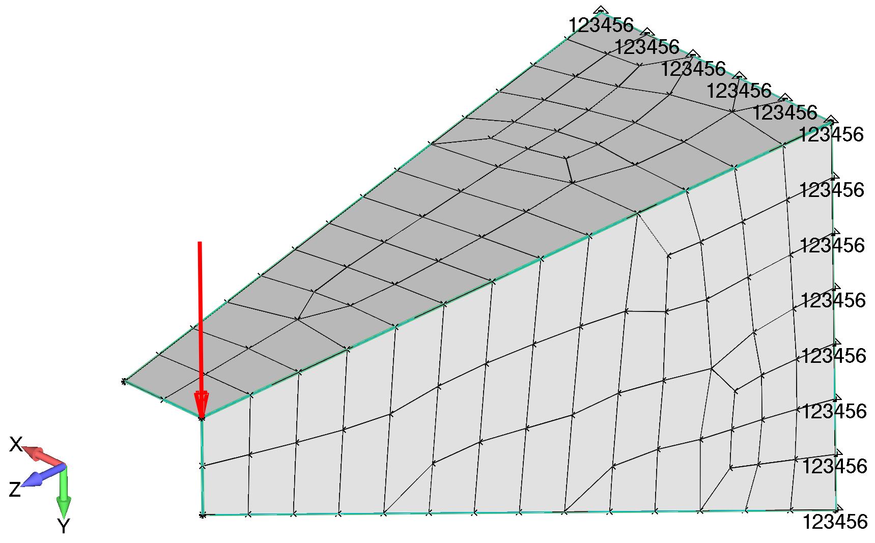 Femap Создайте нагрузку в положительном направлении оси Y