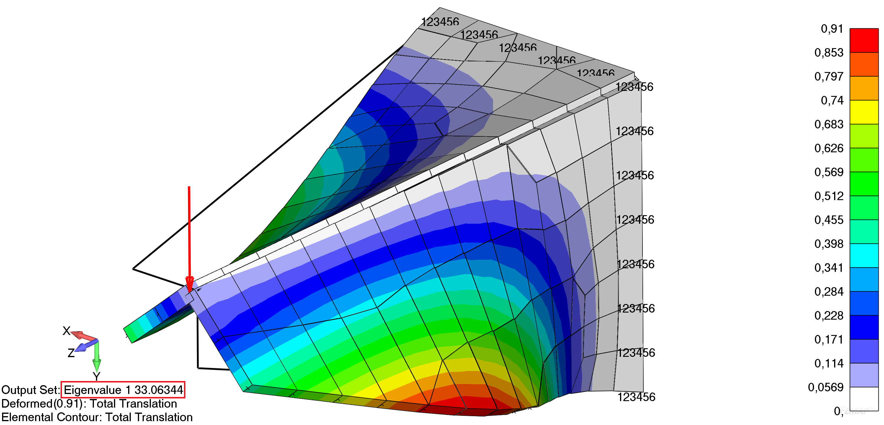 Femap Визуализация формы потери устойчивости кронштейна