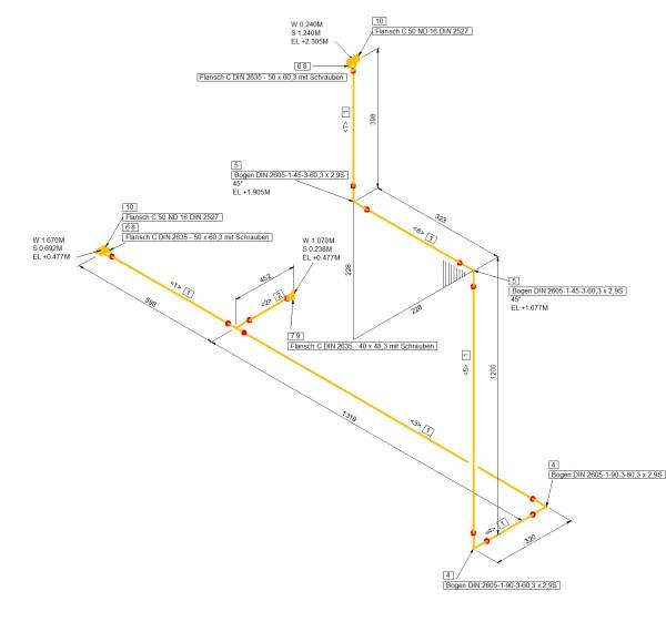Smap3D Isometric импортирует созданные с помощью программы Smap3D Piping 3D - трубопроводы