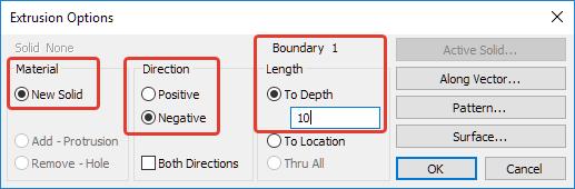 Femap Диалоговое окно настроек вытягивания Extrusion Option