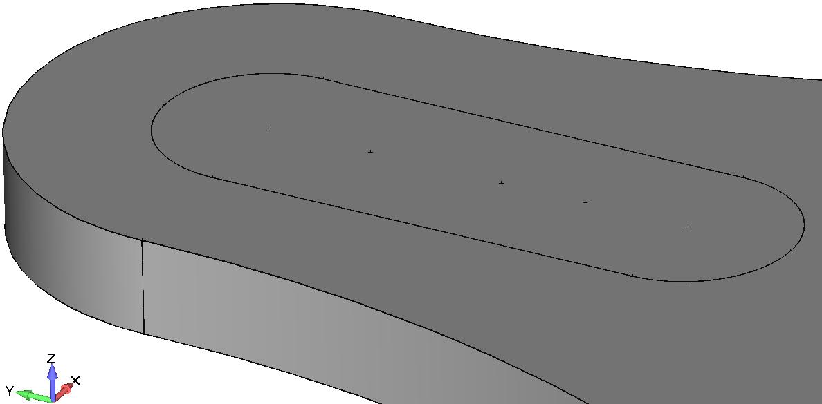 Femap NX Nastran Эскиз, с помощью которого будет создан паз для шпонки