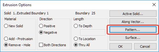 Femap NX Nastran Диалоговое окно параметров вытягивания Extrusion Option