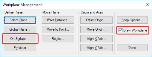 Femap NX Nastran Диалоговое окно настроек рабочей плоскости Workplane