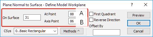 Femap NX Nastran Создание рабочей плоскости Workplane на поверхности