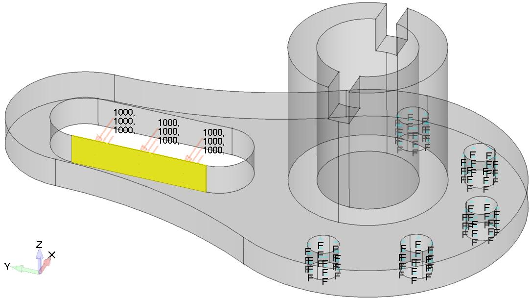 Femap NX Nastran Сила, равномерно распределенная по внутренней поверхности паза