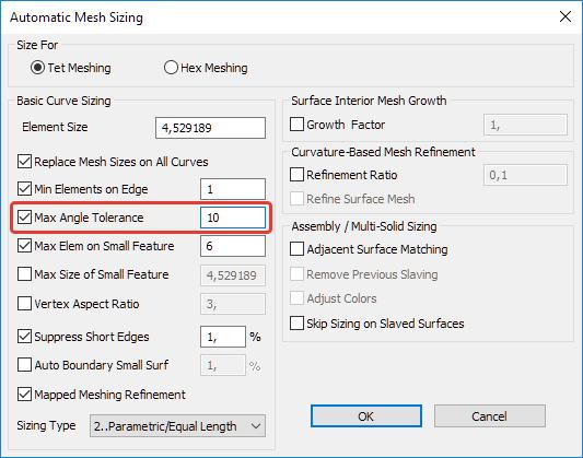 Femap NX Nastran Дополнительные настройки автоматической тетраэдральной сетки Automatic Mesh Sizing
