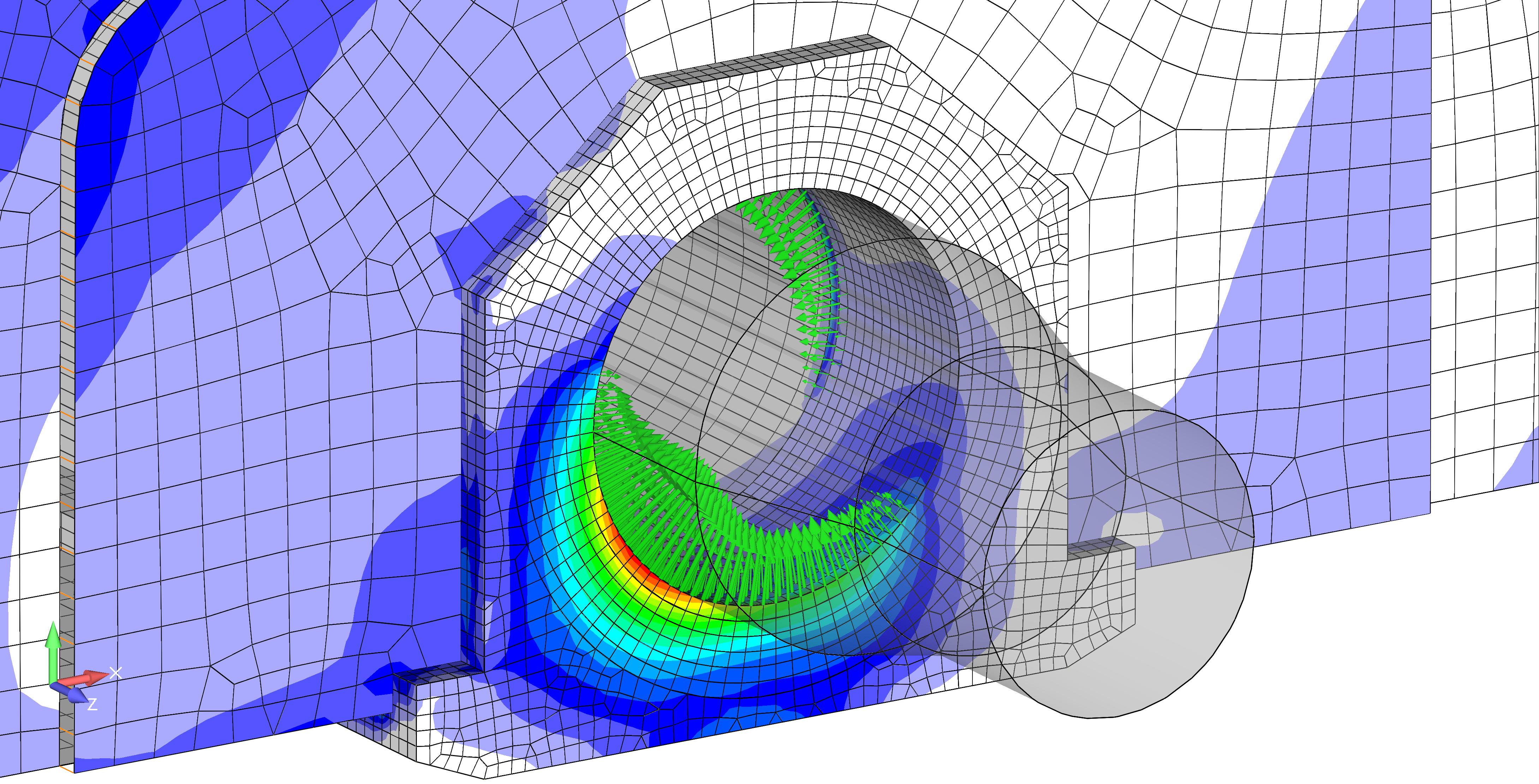 Визуализация контактных узловых сил с помощью панели инструментов Freebody