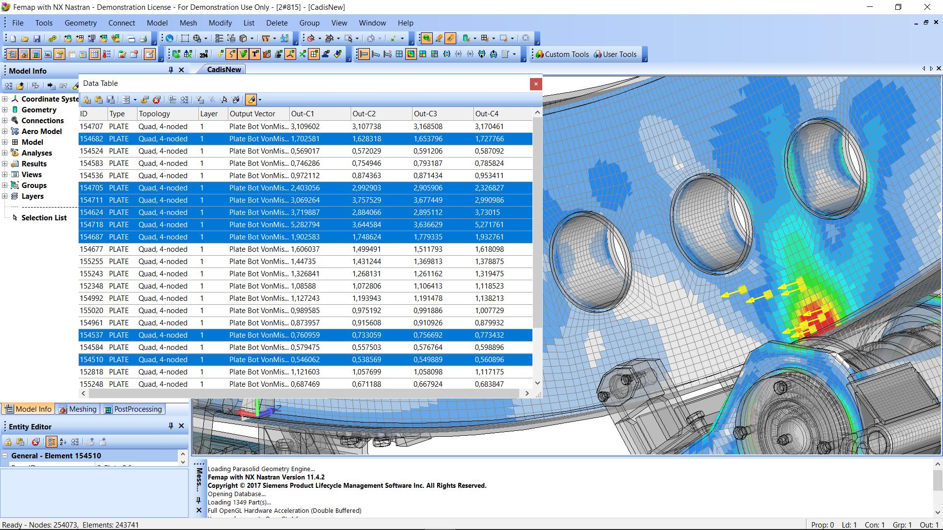Интерактивная таблица данных Data Table siemens femap