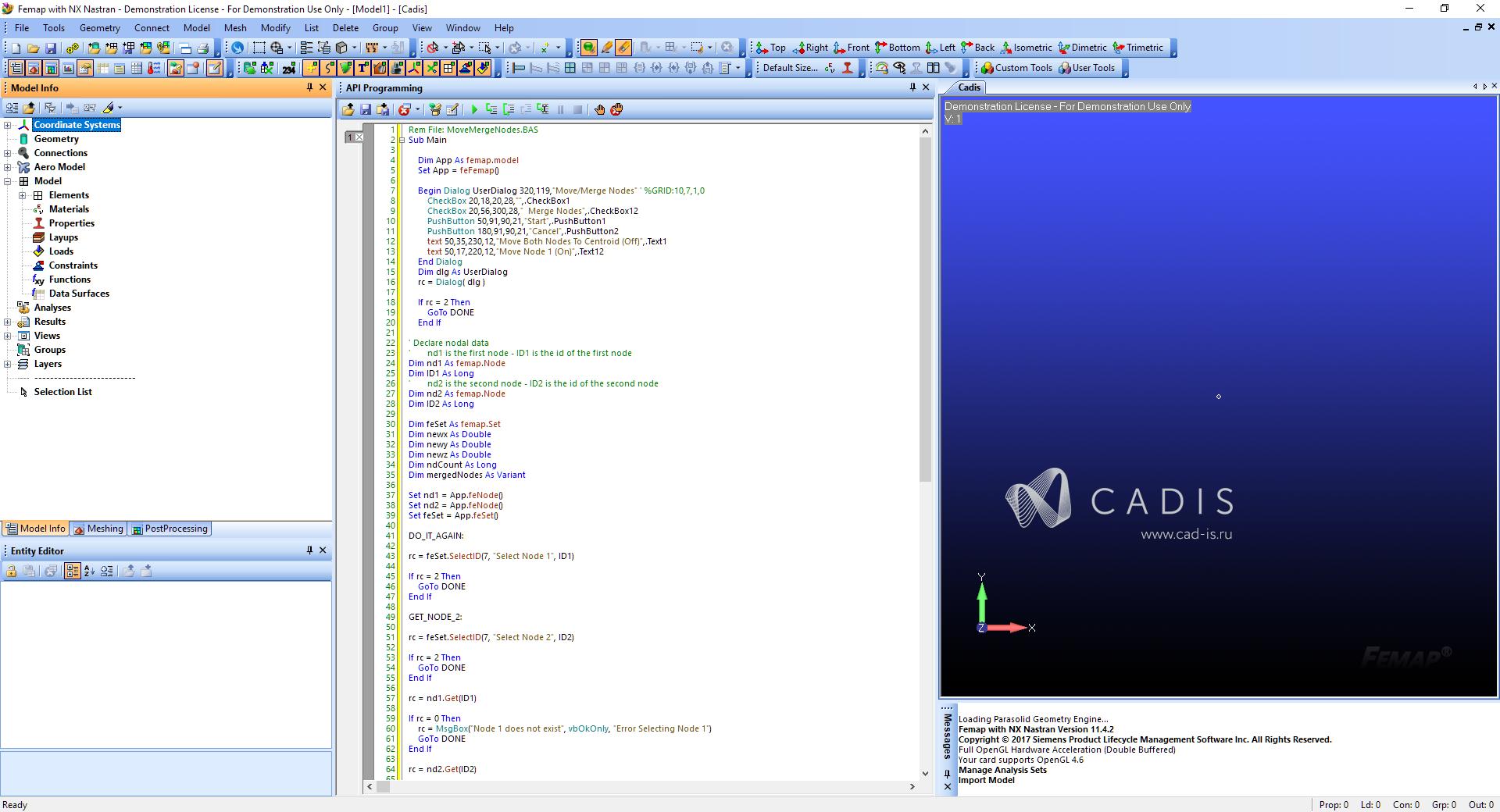 Встроенный полнофункциональный интерфейс программирования API femap nastran