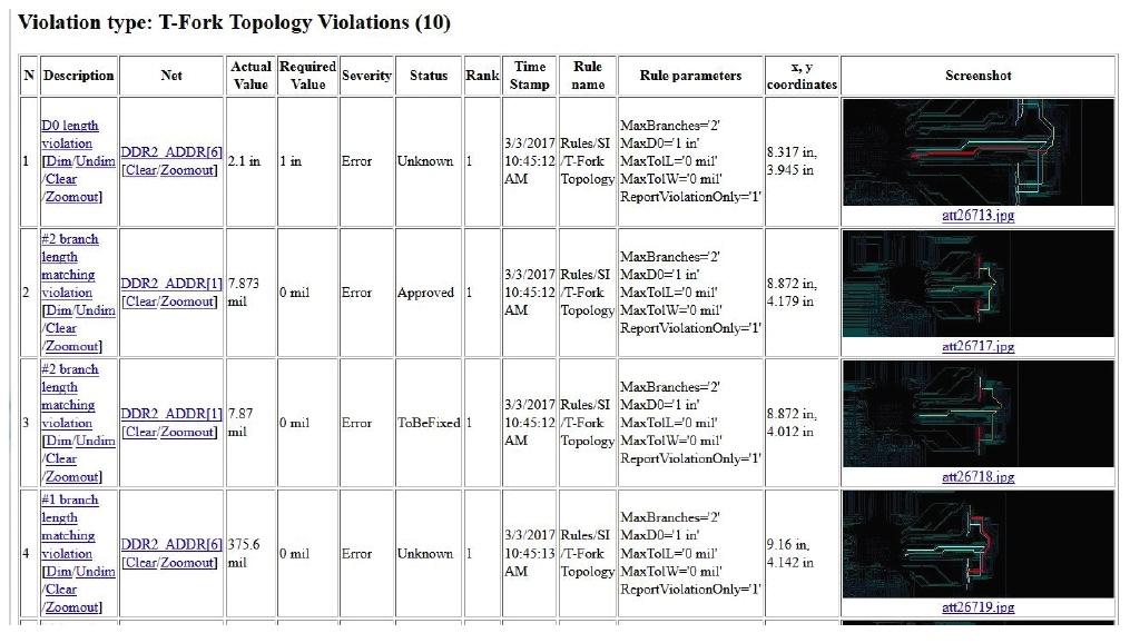HyperLynx DRC PE автоматически создается отчет об ошибках
