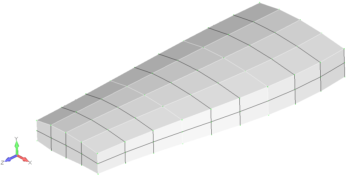 Конечно-элементная модель крыла в Femap