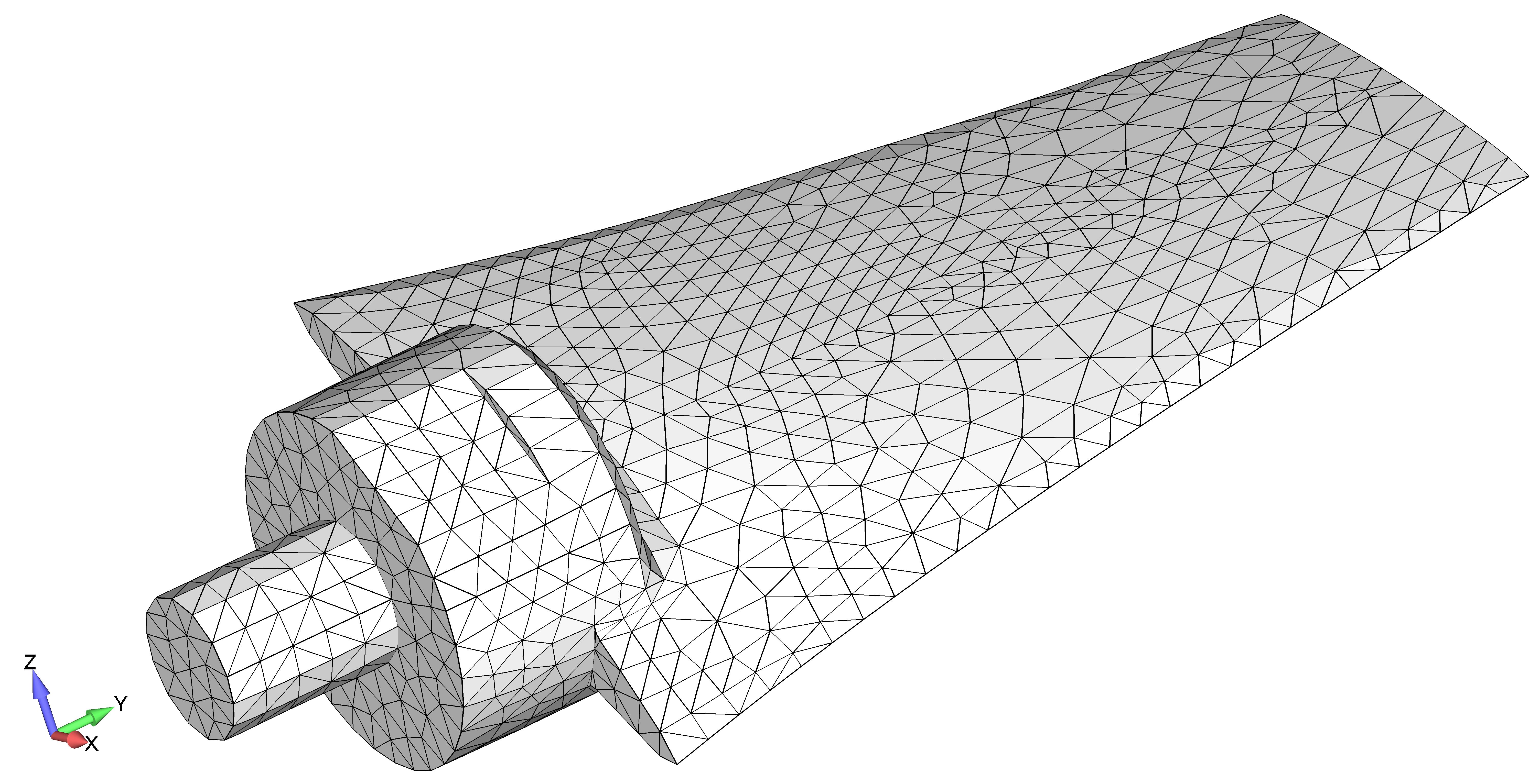 Femap NX Nastran деформированный вид модели, контурная заливка элементов
