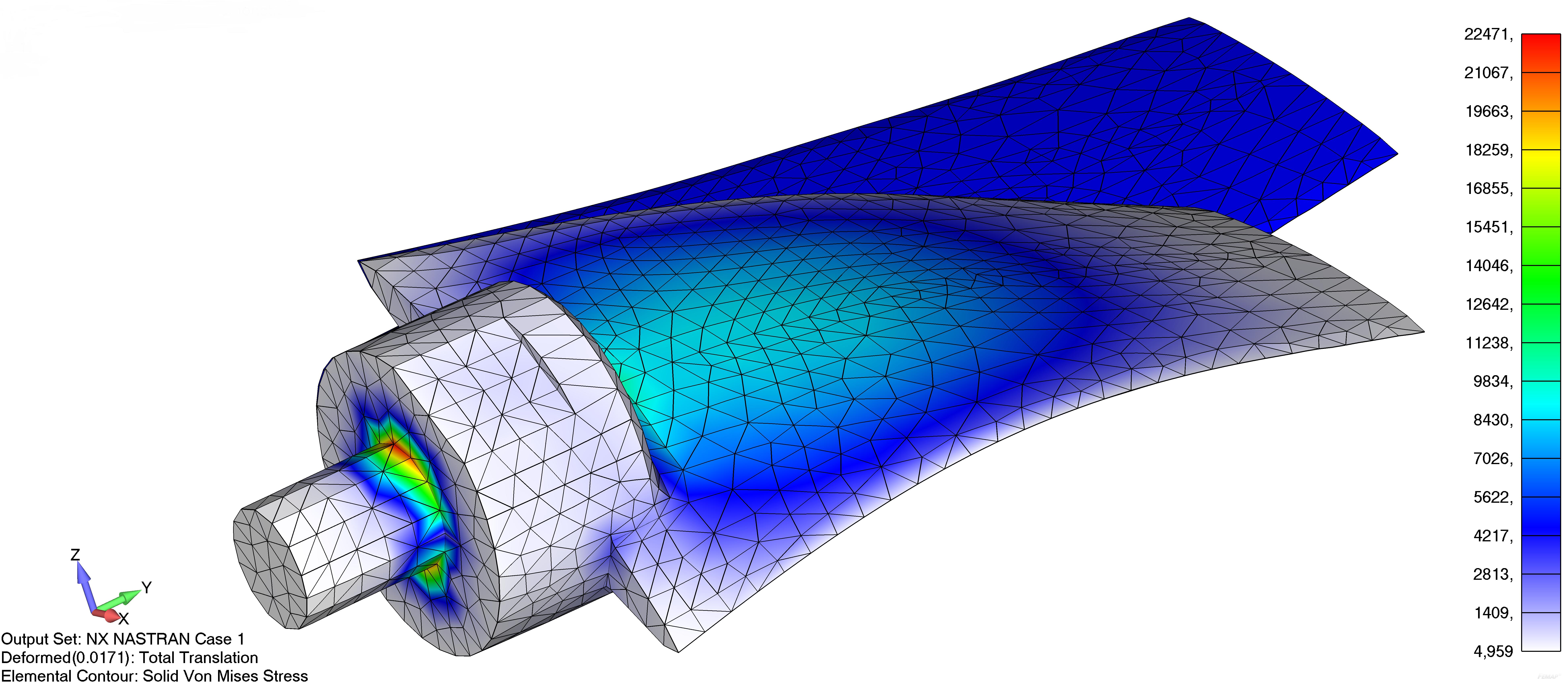 Femap NX Nastran отображение деформированного вида модели совместно с контурным типом эпюры