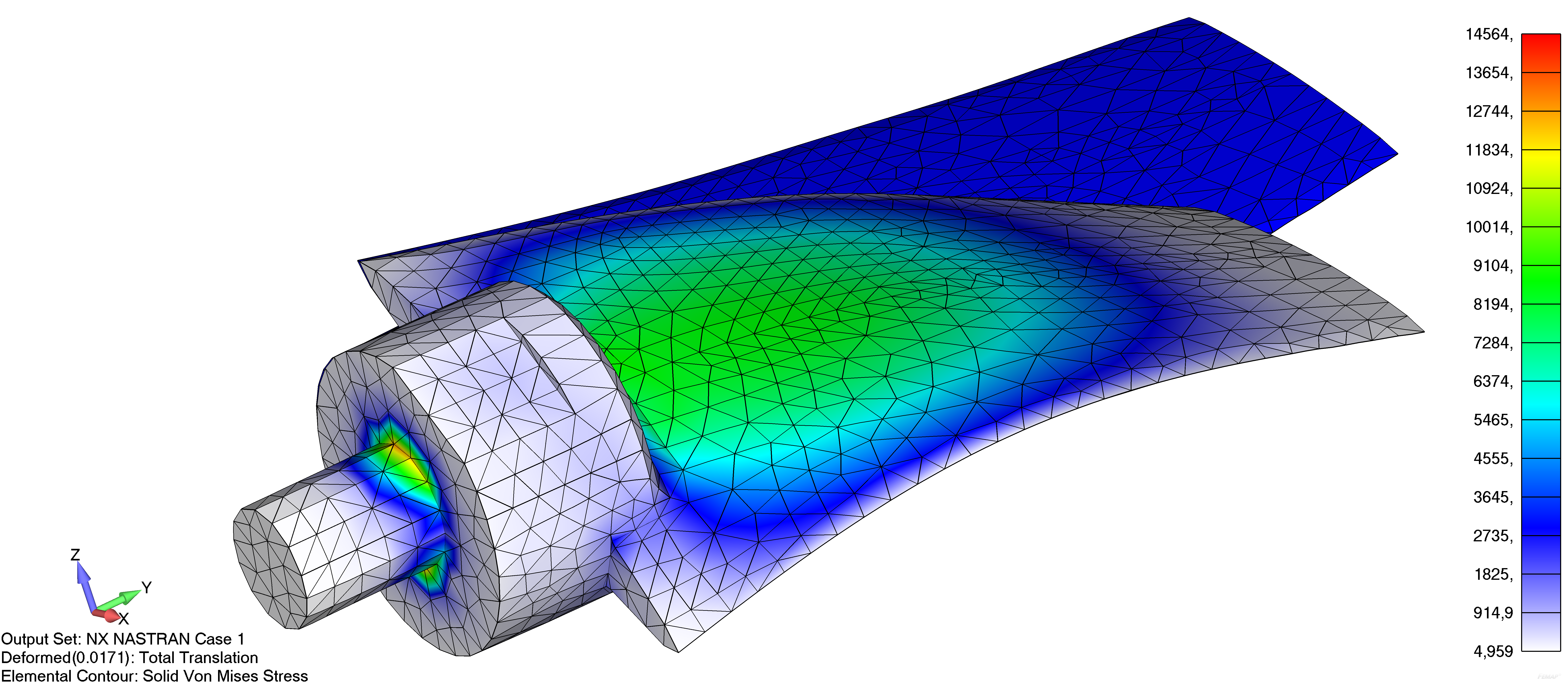 Femap NX NAstran деформированный вид модели и контурную заливку с использованием метода усредненного преобразование данных в узлах