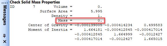 Femap NX Nastran  Если значение объема равно 0, то это твердотельный лист