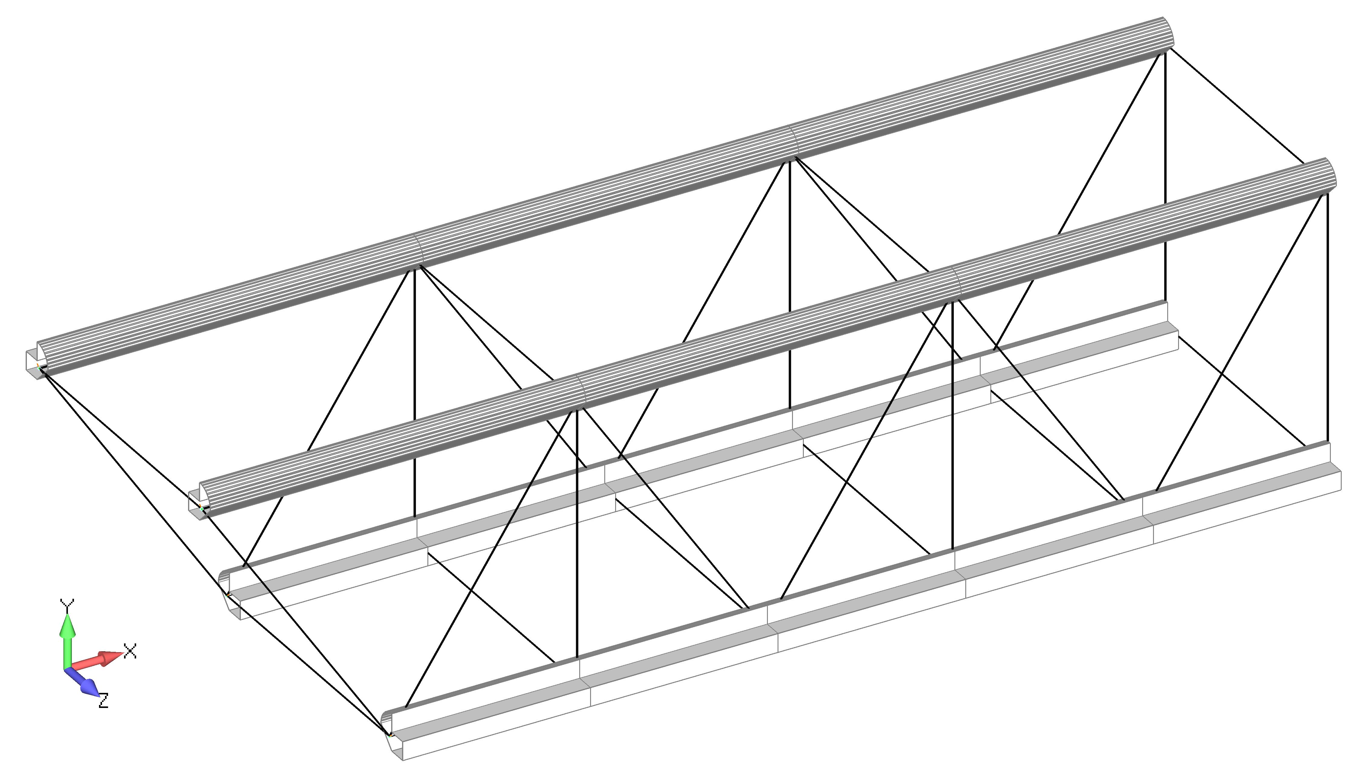 Femap NX Nastran Отображение балочных КЭ (Beam) с видимыми поперечными сечениями