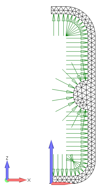 Femap NX Nastran контурная эпюра деформаций и напряжений