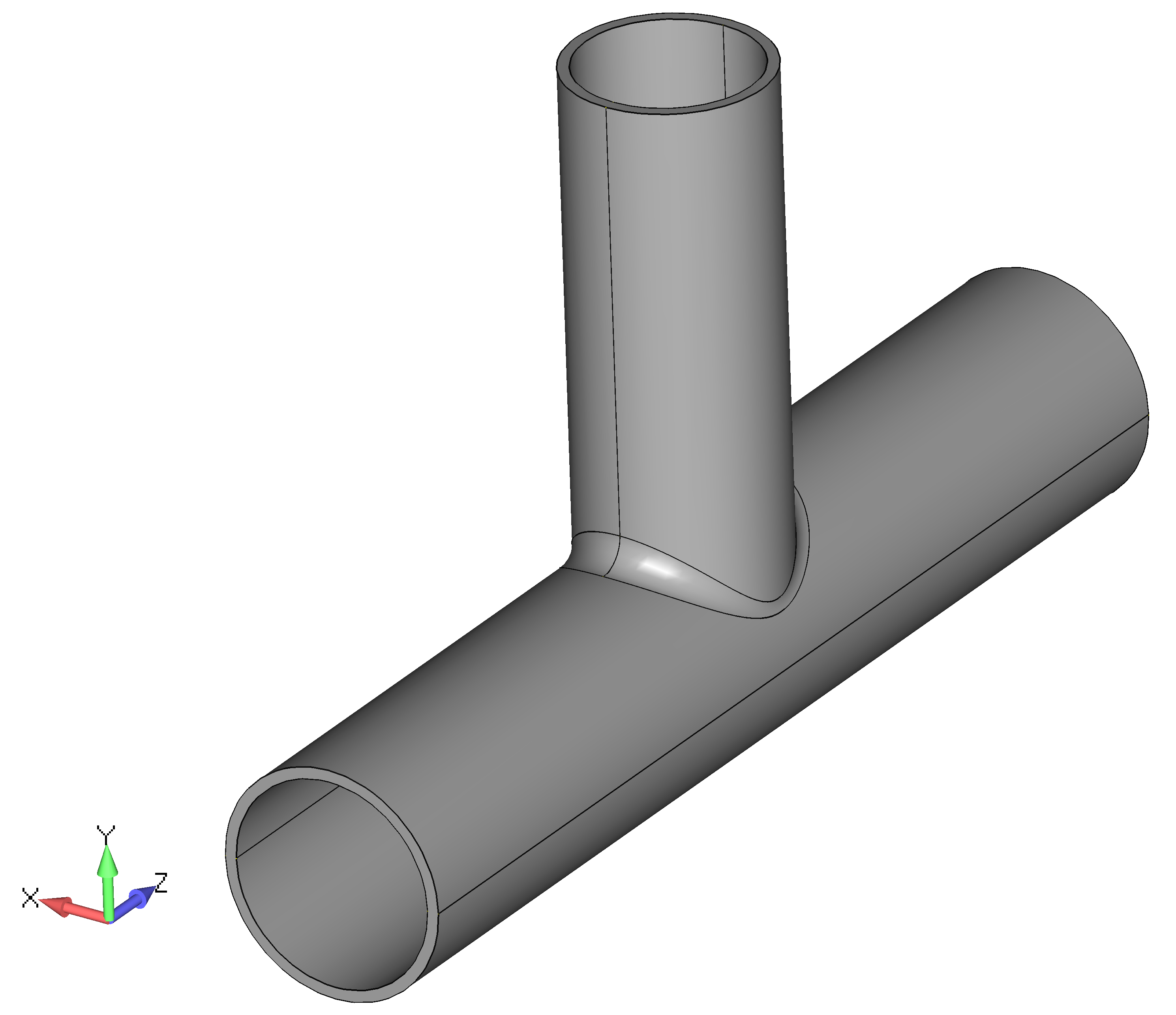 Femap NX Nastran импорт модели сварной трубы