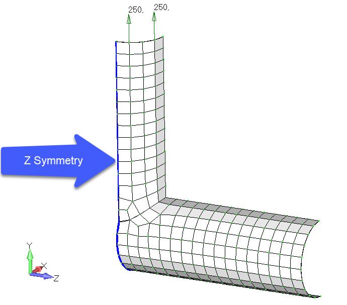 Femap NX Nastran граничные условия симметрии к ребрам