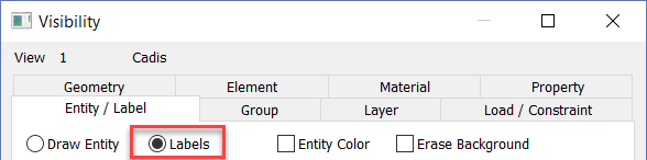 Femap NX Nastran Активируйте параметры отображения меток объектов «Labels»