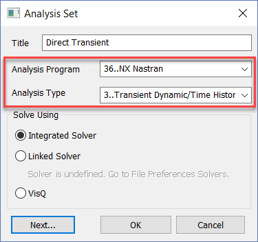 Femap 12 NX Nastran Настройки анализа переходных процессов