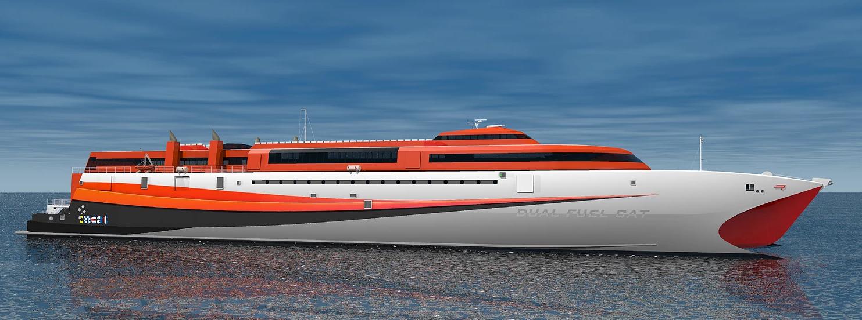 Кадис cadis femap Revolution Design катамаран Catamaran KatExpress Francisco NX Nastran кораблестроение верфь marine паром волнорез статические расчеты деформации колебания моделирование Incat