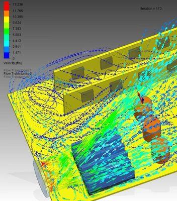 FloEFD визуализация потоков воздуха от кулера, охлаждающего компьютер
