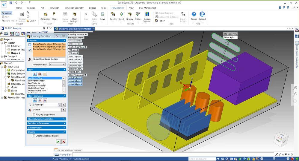 FloEFD встроен в Solid Edge для быстрой настройки анализа, а также простого обновления анализа, если конструкция была изменена