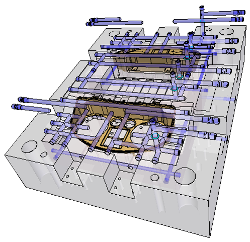 cadis solid edge mold toolind проектирование пресс формы поверхность разъема канал охлаждения