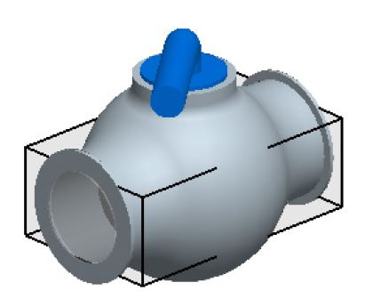 FloEFD Полупрозрачный параллелепипед обозначает границы расчетной области