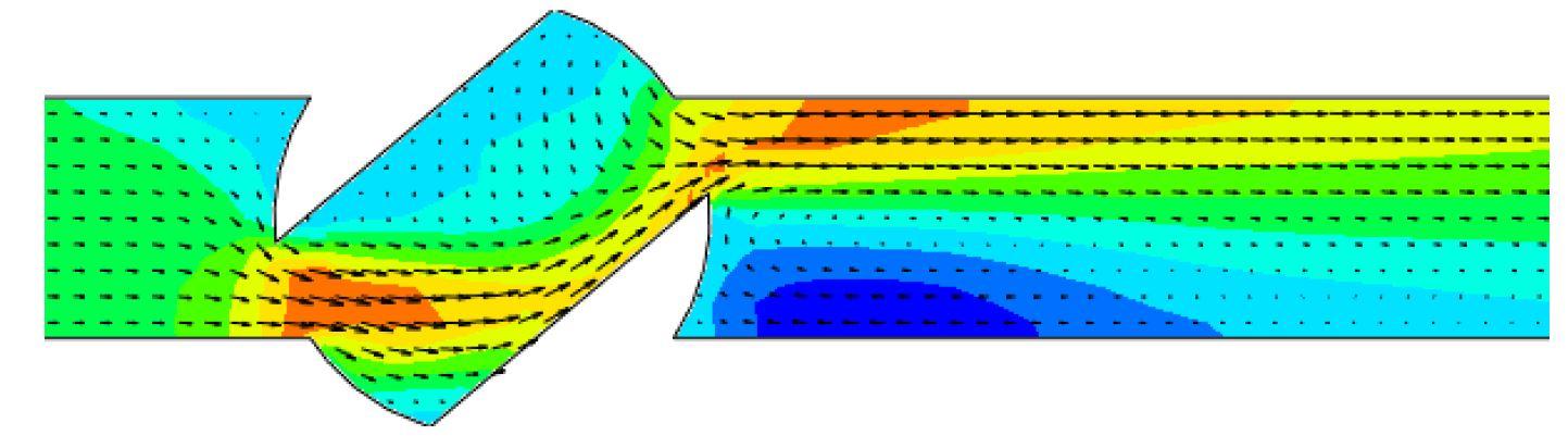 FloEFD Картина распределения скорости и вектора скорости