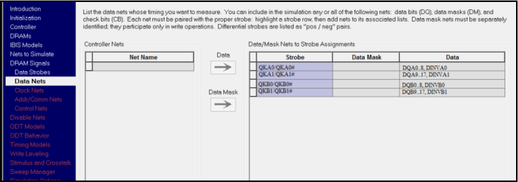 HyperLynx DDR: Группа сигналов для 18-разрядной шины