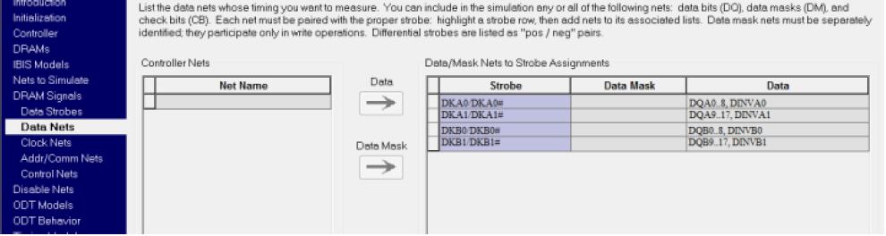 Mentor HyperLynx DDRx: группы сигналов строба записи (18-разрядной шины)