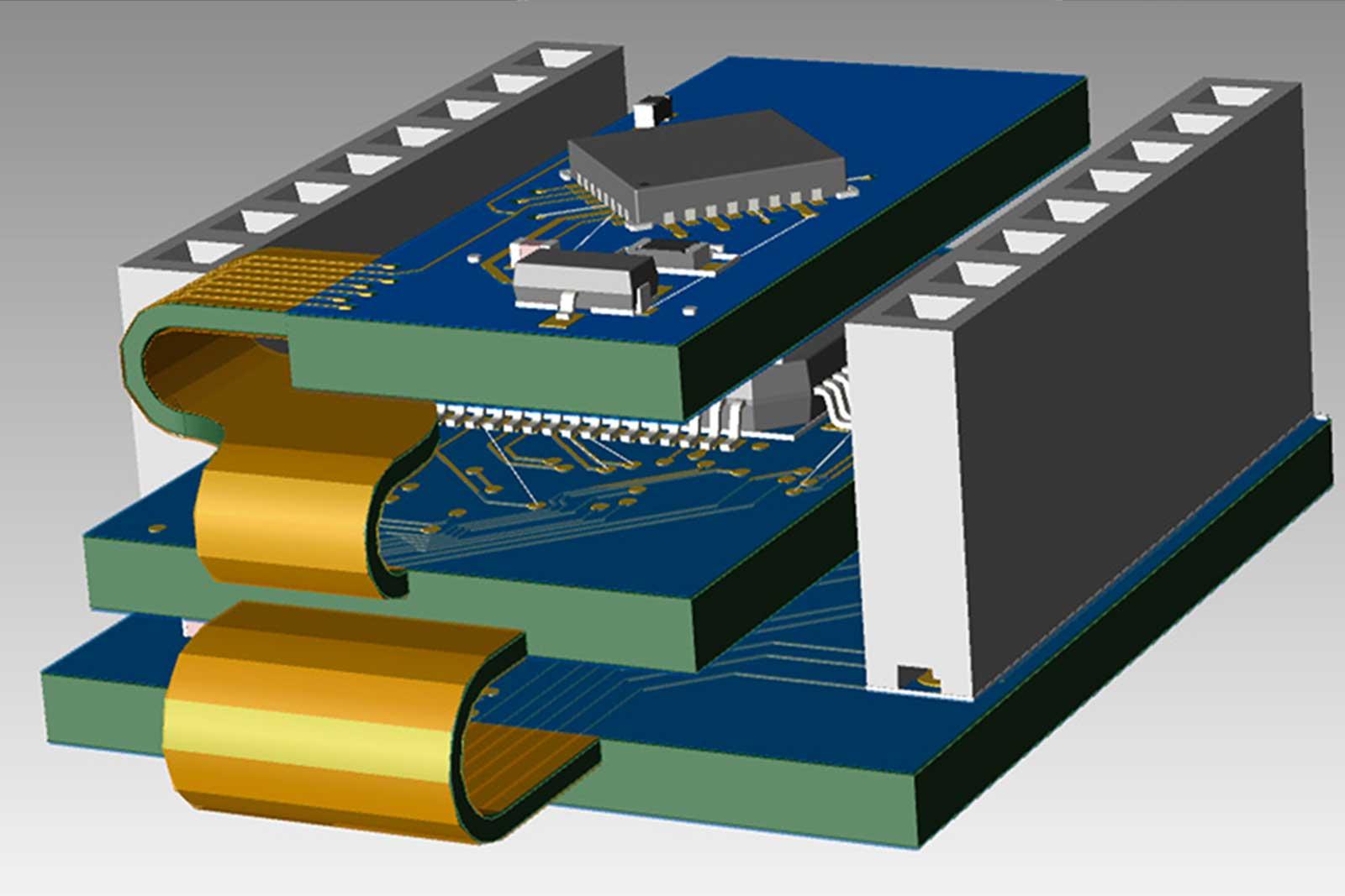 PADS Rigid-Flex. 3D-вид гибко-жесткой печатной платы.