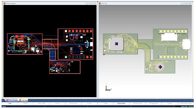 Размещение компонентов и трассировка (2D/3D вид) в PADS Professional Rigid-Flex