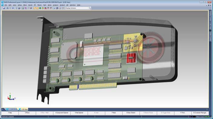 PADS Professional Интегрированное 3D-проектирование обеспечивает визуализацию и взаимодействие с механическими САПР