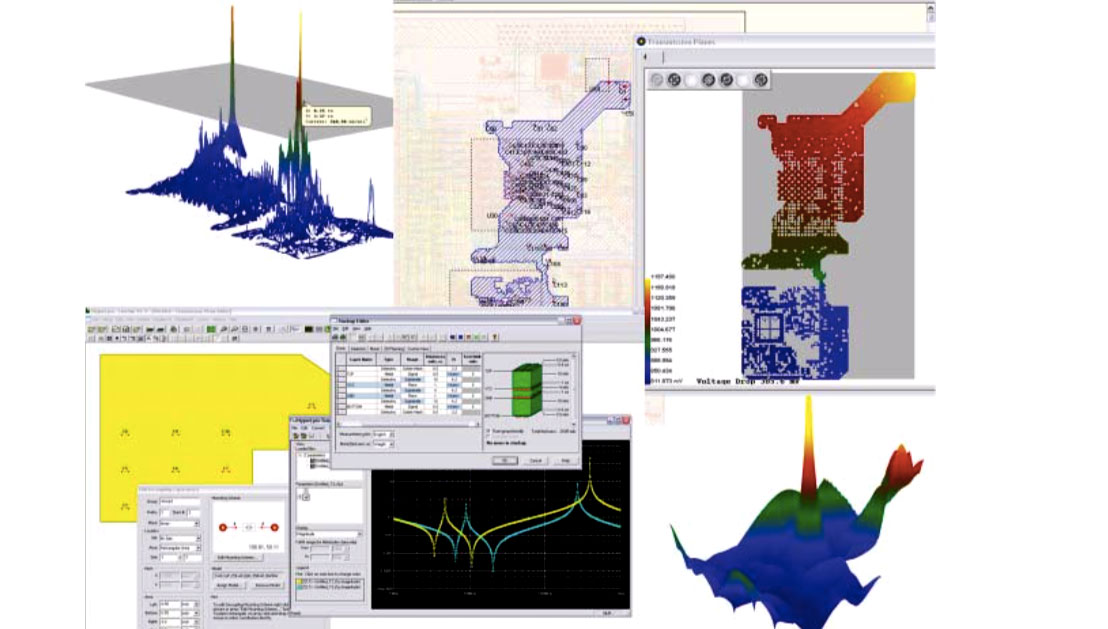 HyperLynx PI ключает пред- и пост-топологический анализ целостности питания, анализ падения напряжения в цепях питания, анализ частотных развязок, анализ шумов в слоях питания