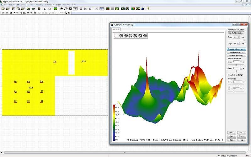 HyperLynx PI позволяет анализировать распространение шумов в плейнах и переходных отверстиях.