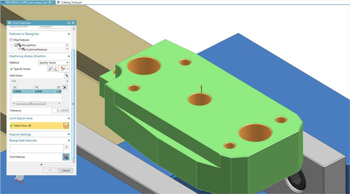 Обработка на основе элементов в Solid Edge CAM Pro