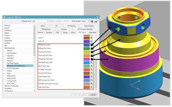Удаление материала в цвете Solid Edge CAM Pro