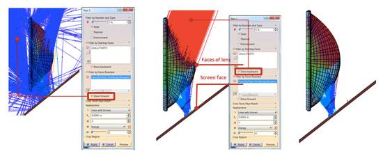 Визуализация траектории лучей между двумя выбранными поверхностями