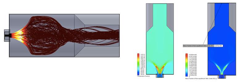 FloEFD Advanced Анализ горения позволяет рассчитать массовую концентрацию оксида азота в неравновесном состоянии