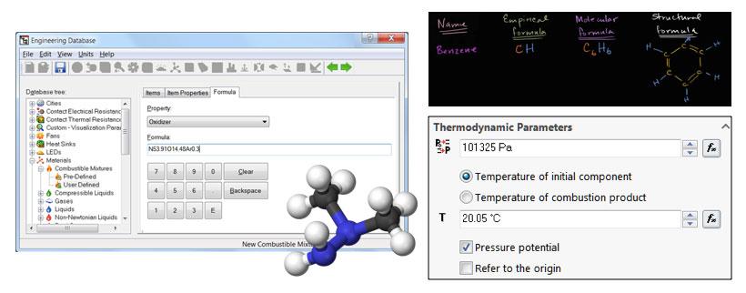 FloEFD Advanced Топливо или окислитель можно задать молекулярной формулой