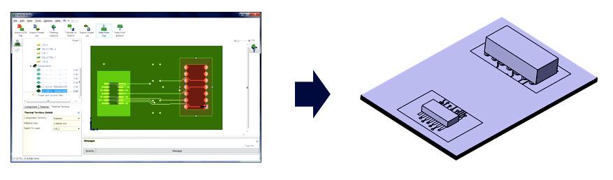 FloEDA моделирование выбранной области под компонентом