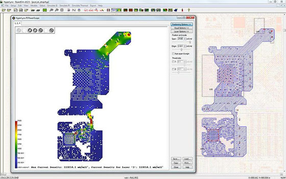 HyperLynx PI позволяет найти области в топологии печатной платы с чрезмерной плотностью тока