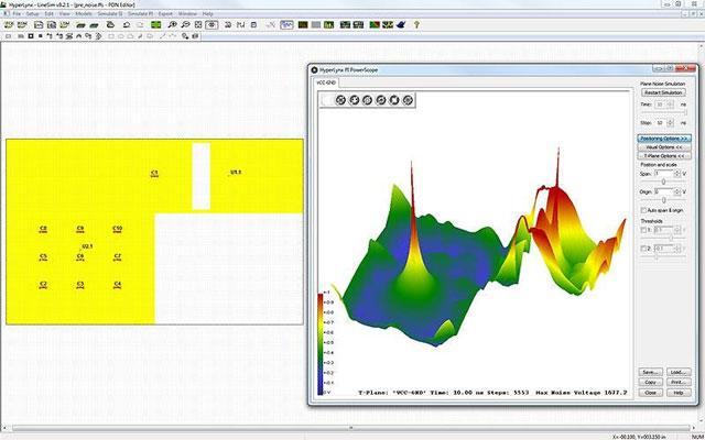HyperLynx PI позволяет анализировать распространение шумов в плейнах и переходных отверстиях