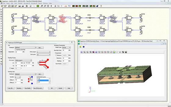 HyperLynx SI Интегрированный полноволновый 3D-электромагнитный решатель