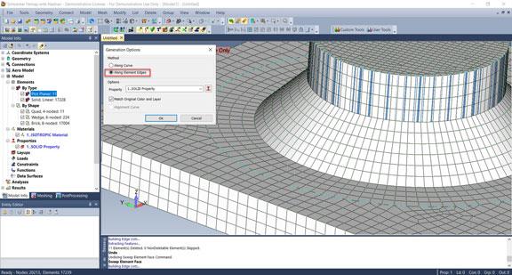 Femap 2019 Новый метод протягивания элементов вдоль кромок Sweep Along Element Edge