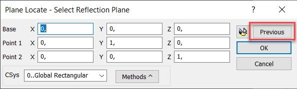 Femap 2019 Выбор ранее определенного вектора Previous